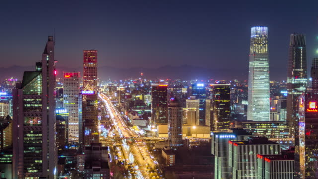 T/L MS HA ZO Beijing CBD and City Traffic at Night / Beijing, China