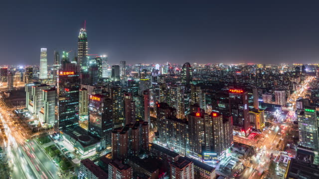 t/l ws ha rl pan beijing cbd area at night / beijing, china - pechino video stock e b–roll