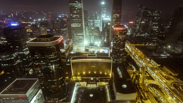 beijing cbd at night time lapse - beijing stock videos & royalty-free footage