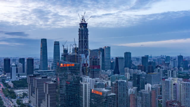 beijing cbd day to night time lapse - chinese script stock videos & royalty-free footage