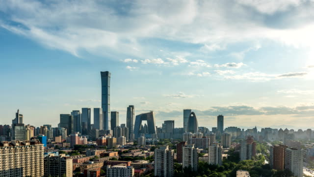 beijing cbd skyline at sunset - international landmark stock videos & royalty-free footage