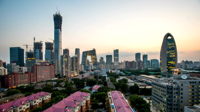 t/l ws beijing cbd skyline day to night - pechino video stock e b–roll