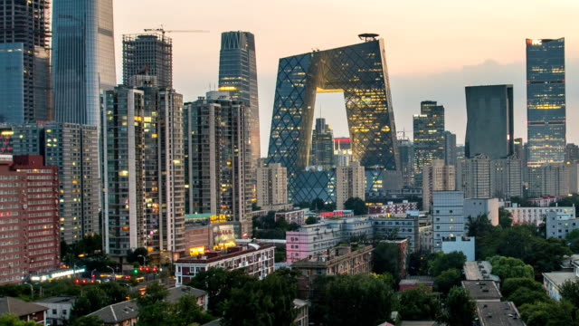 t/l beijing cbd skyline day to night - pechino video stock e b–roll