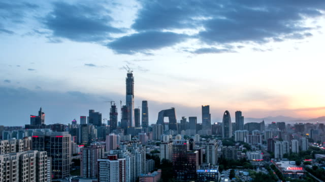 T/L WS HA Beijing CBD Skyline dusk to night