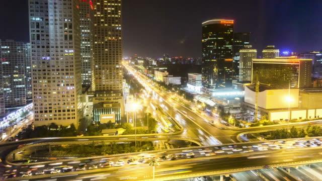 beijing cbd traffic at night