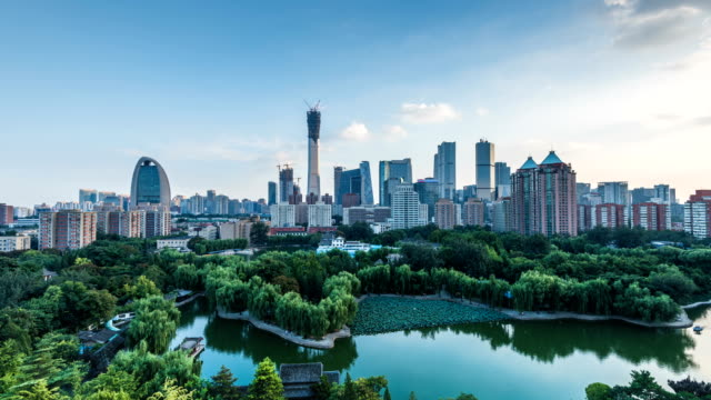 beijing cbd under the blue sky is very spectacular - pechino video stock e b–roll