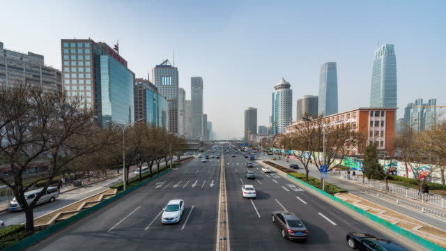 T/L WS Beijing Central Business District and City Traffic / Beijing, China