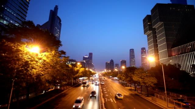 夜の北京の中央ビジネス地区 - ローカルな名所点の映像素材/bロール