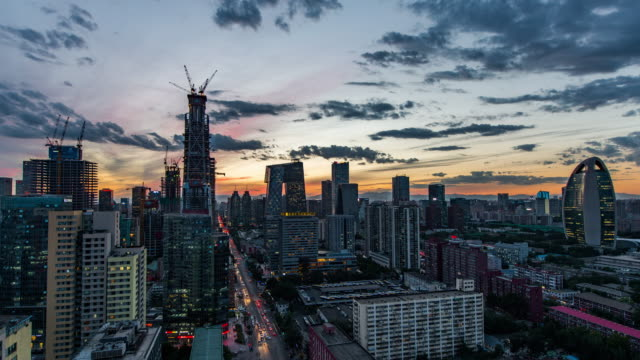 T/L WS HA TU Beijing Central Business District Panorama, Day to Night Transition / Beijing, China