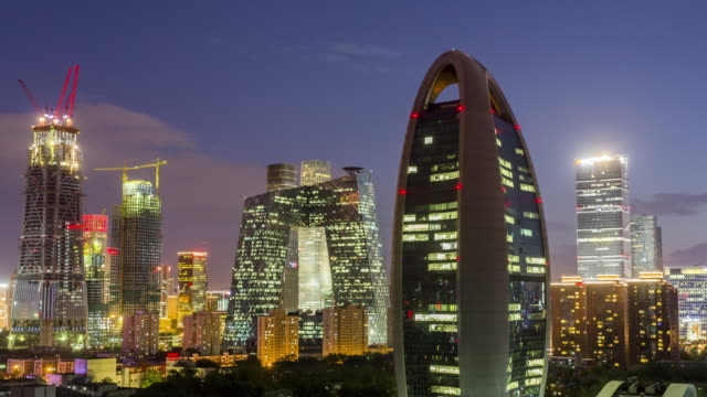 Beijing Central Business District Skyline time lapse