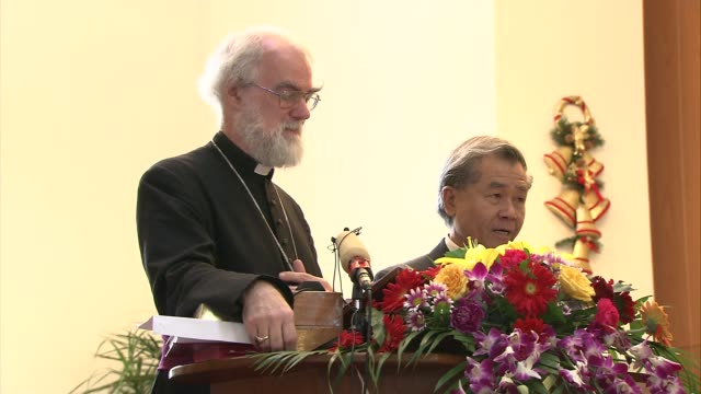 chaoyang church: archbishop of canterbury visit; archbishop of canterbury, dr rowan williams delivers sermon from lectern at front of church sot -... - archbishop of canterbury stock videos & royalty-free footage