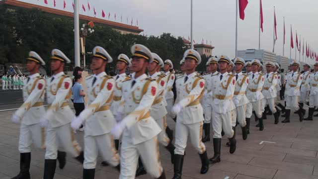 vídeos de stock e filmes b-roll de beijing, china - june 30th 2021: military parade, cultural performance, address by china's president xi jinping to crowds gathered for event in... - china