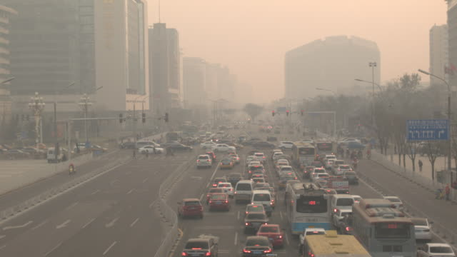 beijing city streets, traffic, buildings - air pollution stock videos & royalty-free footage