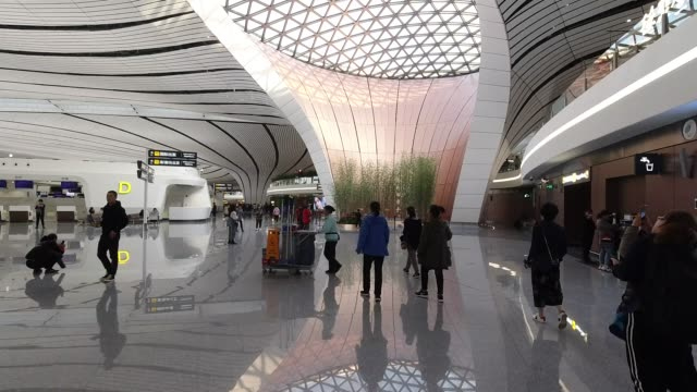 beijing daxing international airport - lobby stock videos & royalty-free footage