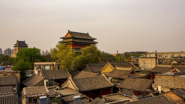 beijing drum tower time lapse - hutong alley stock videos & royalty-free footage