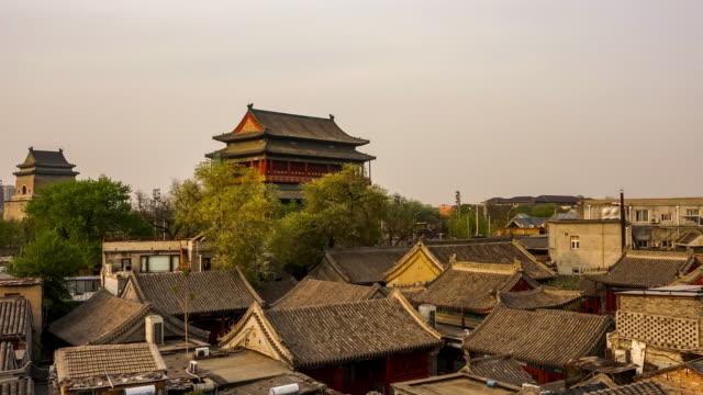 beijing drum tower - temple building stock videos & royalty-free footage