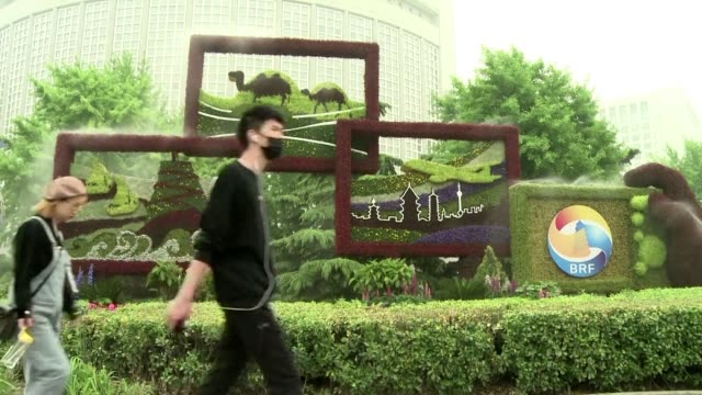 stockvideo's en b-roll-footage met beijing gears up for this week's belt and road summit which will see president xi jinping lead a hard sales push to corral more countries into a... - omsloten ruimte