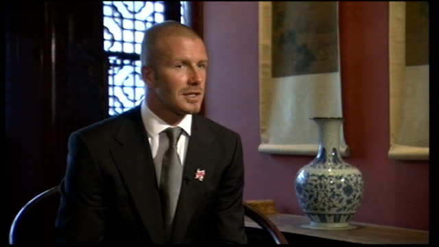 beijing int david beckham interview sot i'm very honoured and proud to be here representing east london and the 2012 committee / proud to be here and... - china east asia stock videos & royalty-free footage