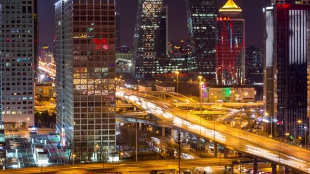 t/l pan beijing international trade center at night / beijing, china - traffic time lapse stock videos & royalty-free footage