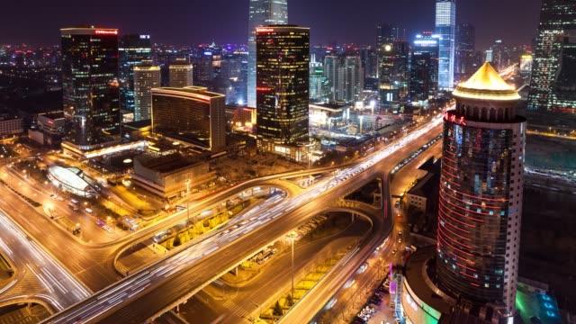 t/l zo beijing international trade center at night / beijing, china - peking stock-videos und b-roll-filmmaterial
