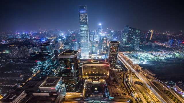 time lapse: beijing international trade center - pechino video stock e b–roll