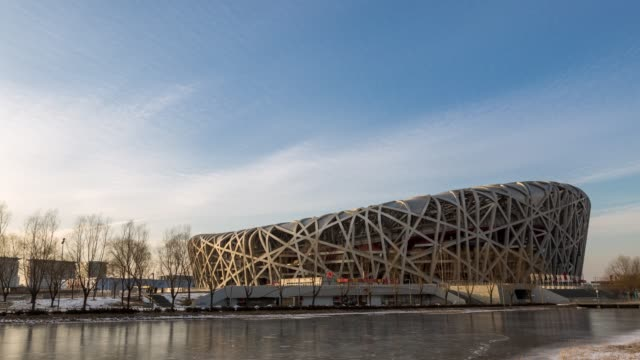 t/l pan beijing national stadium / beijing, china - bird's nest stock videos & royalty-free footage