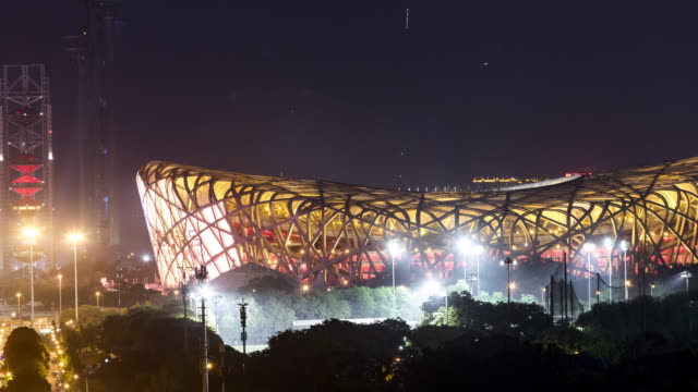 beijing national stadium time lapse - bird's nest stock videos & royalty-free footage