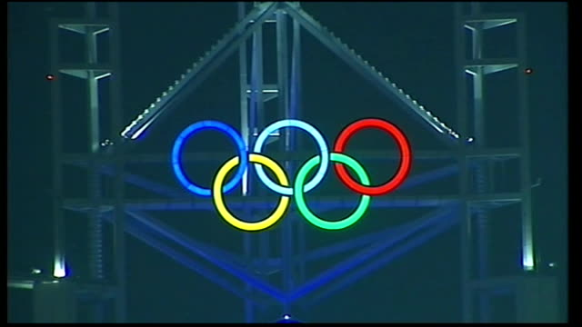five olympic rings lit up - opening ceremony stock videos & royalty-free footage