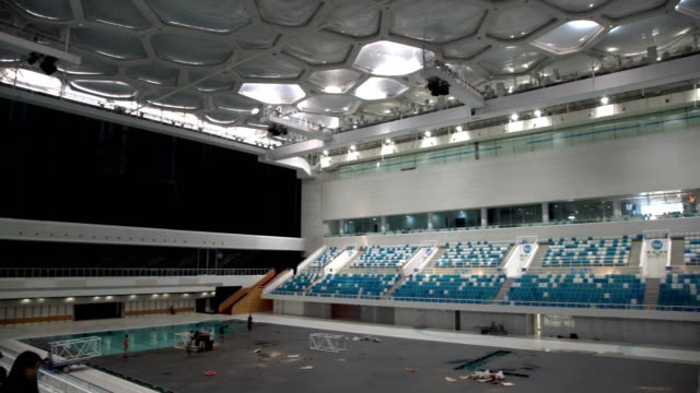beijing olympic swimming stadium - inside of stock videos and b-roll footage