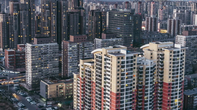 T/L TU Beijing Residential Area Cityscape, Day to Night Transition / Beijing, China