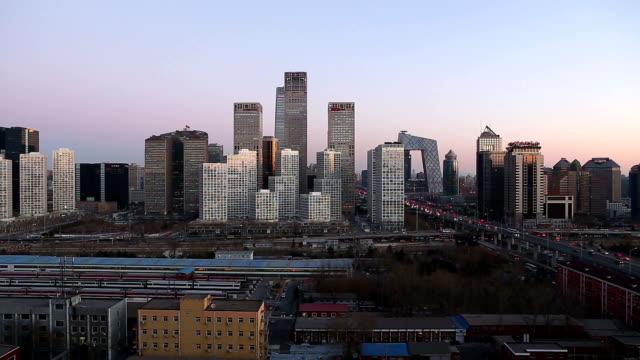 Skyline von Peking bei Dämmerung