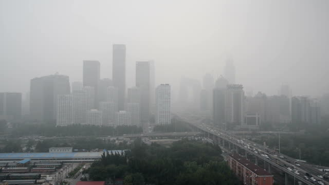 beijing smog, beijing urban skyline in air pollution - air pollution stock videos & royalty-free footage
