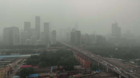t/l ws ha pan beijing smog, city in air pollution - fumes stock videos & royalty-free footage