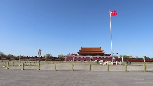 beijing tiananmen square - chinese flag stock videos & royalty-free footage
