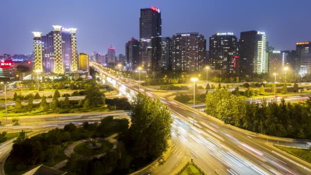 beijing traffic at night time lapse