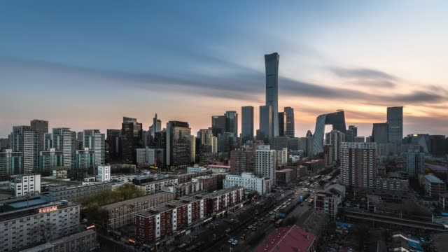 t/l ws ha td beijing urban cityscape sunset view - sunset to night time lapse stock videos & royalty-free footage