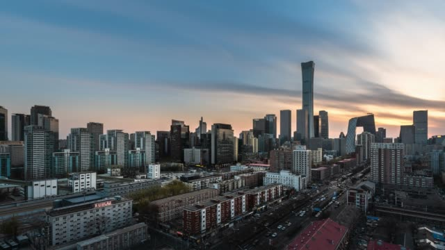 t/l ws ha zo beijing urban cityscape sunset view - sunset to night time lapse stock videos & royalty-free footage