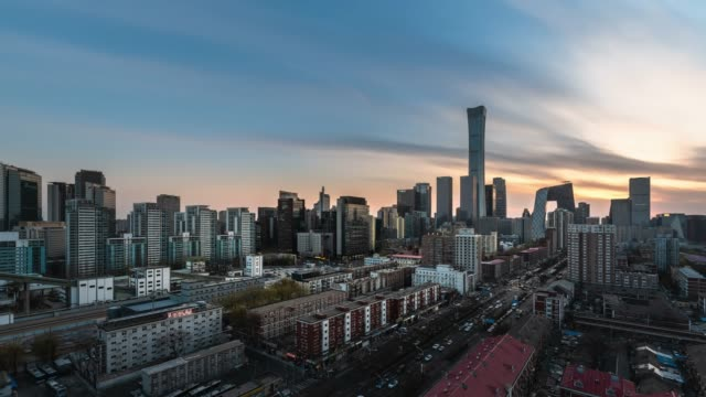 t/l ws ha zi beijing urban cityscape sunset view - sunset to night time lapse stock videos & royalty-free footage