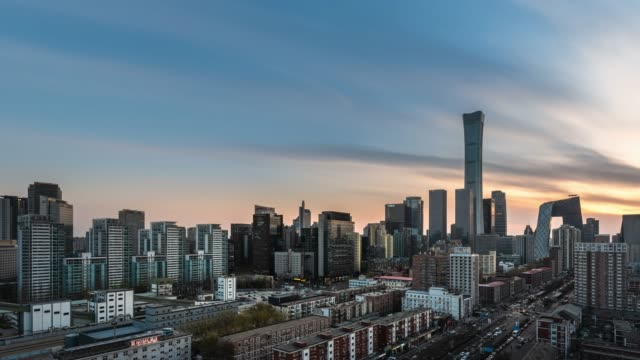 t/l ws ha pan beijing urban cityscape sunset view - sunset to night time lapse stock videos & royalty-free footage