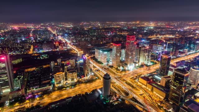 T/L WS HA PAN Beijing Urban Skyline and Cityscape at Night / Beijing, China