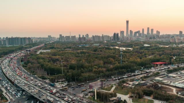 T/L WS HA ZO Beijing Urban Skyline and Crowded Traffic