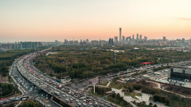 T/L WS HA Beijing Urban Skyline and Crowded Traffic