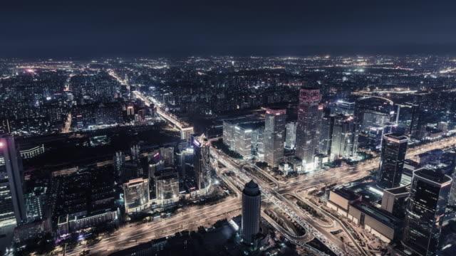 t/l ws ha zo beijing urban skyline at night - motorway junction stock videos & royalty-free footage