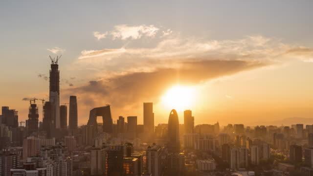 T/L WS HA Beijing Urban Skyline at Sunset / Beijing, China