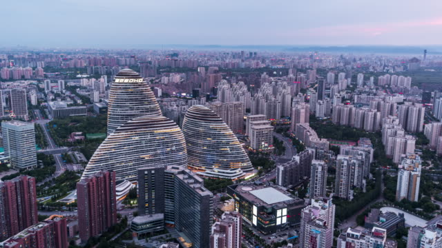 t/l tu beijing urban skyline, day to night transition - beijing stock videos & royalty-free footage