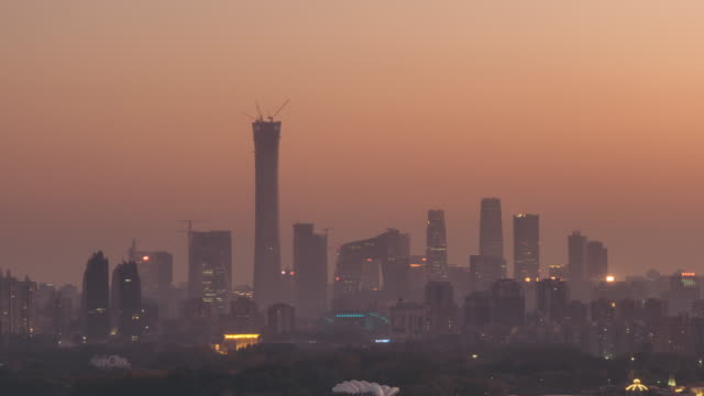 t/l pan beijing urban skyline in air pollution - beijing stock videos & royalty-free footage