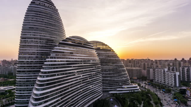 beijing wangjing soho time lapse - beijing stock videos & royalty-free footage