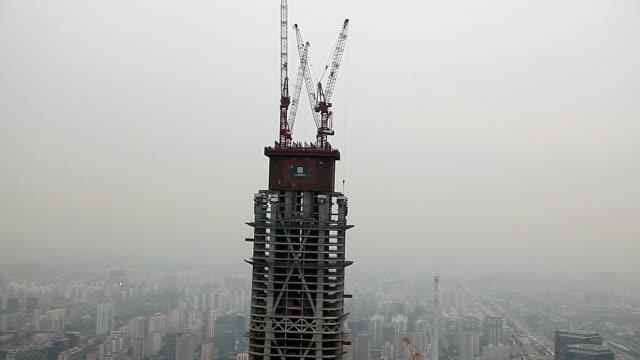 Beijing, China - October 20, 2016: Beijing world trade center building under construction in Chaoyang District in Beijing.