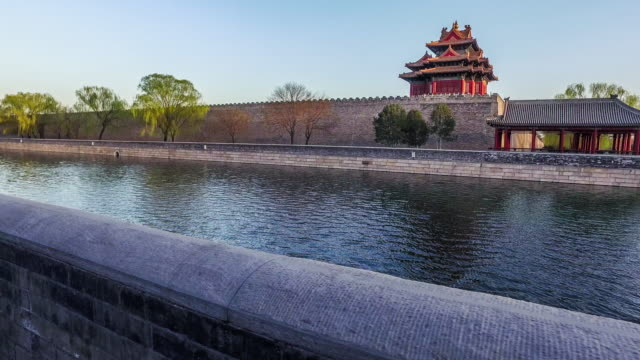 Beijing,China-Mar 21,2016: At sunset, walking and looking the beautiful view of the tower of the Forbidden City, Beijing, China