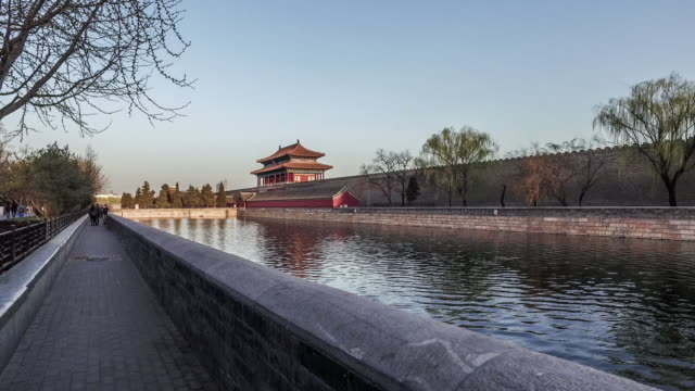beijing, kina-mar 21,2016: vid solnedgången, promenader och ser den vackra utsikten över tornet av den förbjudna staden, peking, kina - mar bildbanksvideor och videomaterial från bakom kulisserna